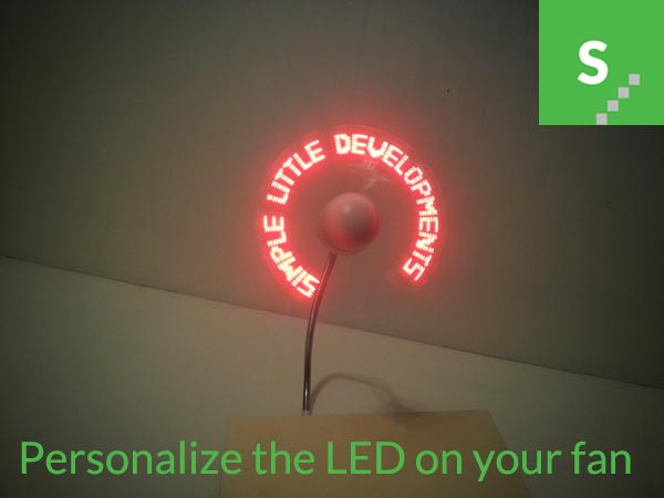 USB fan with personalized LED messages