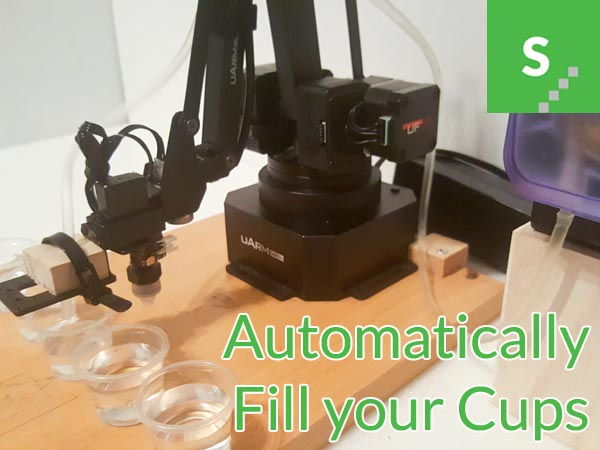 uArm Swift Pro Robotic Arm helps to fill your cups